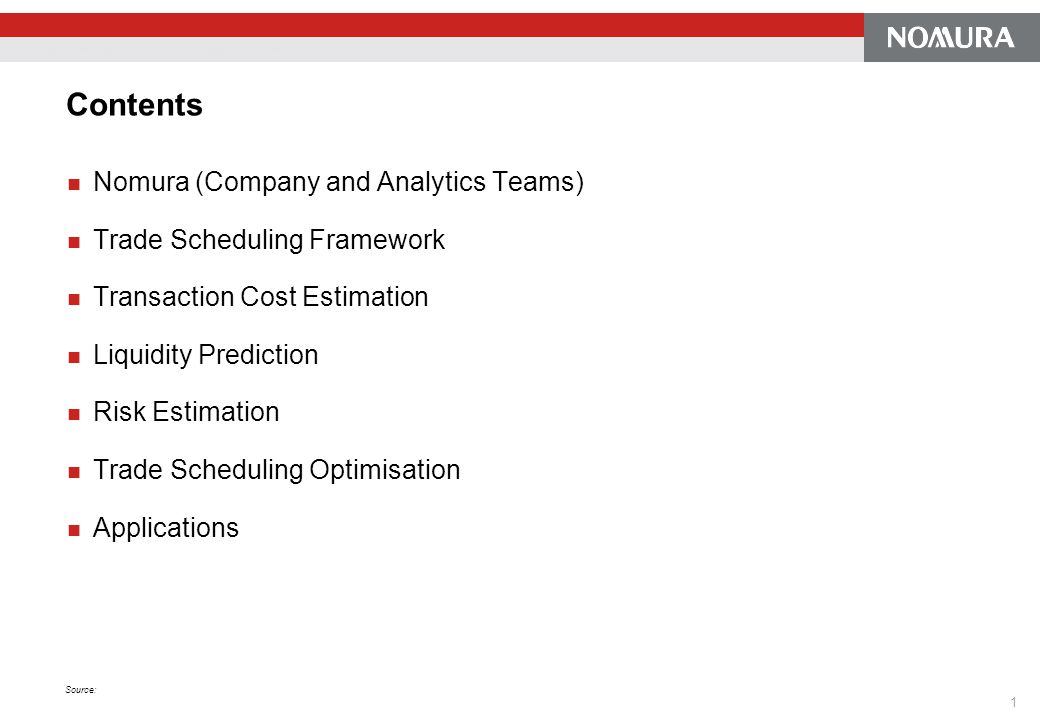 Contents Nomura (Company and Analytics Teams)