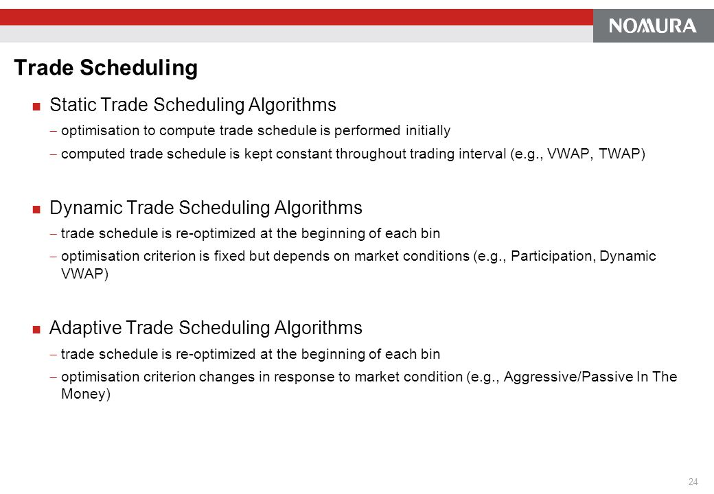 Trade Scheduling Static Trade Scheduling Algorithms