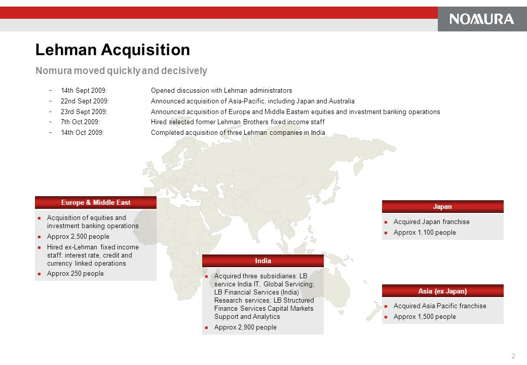 Lehman Acquisition Nomura moved quickly and decisively