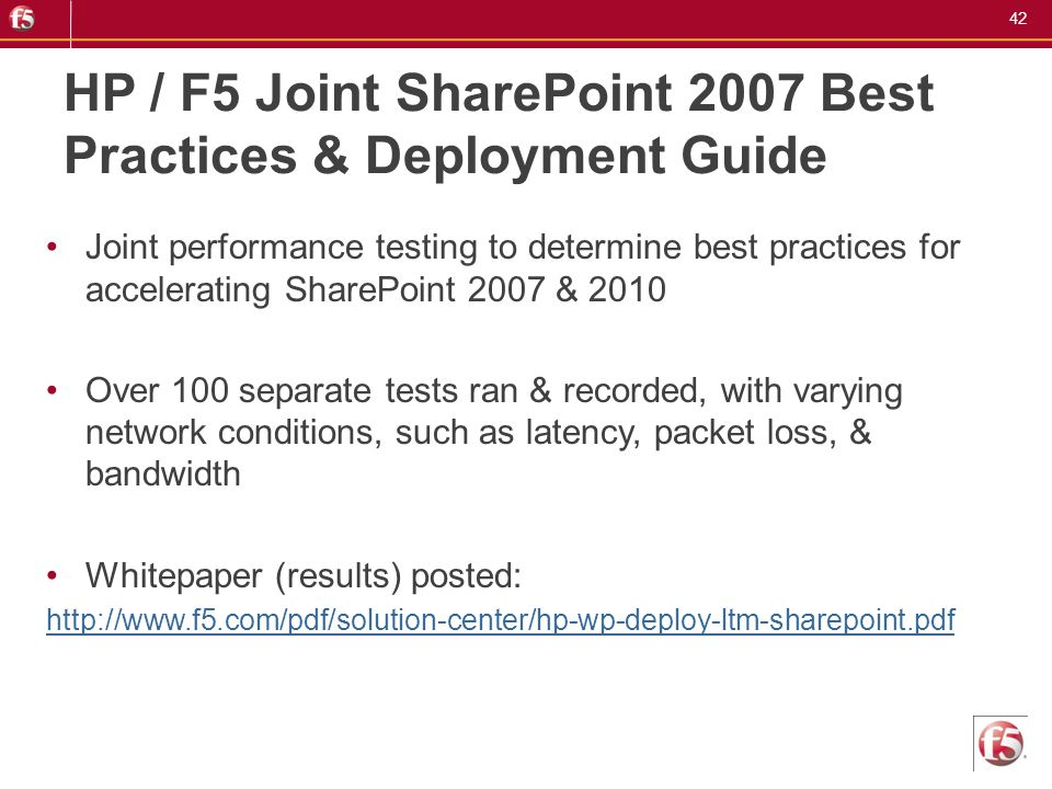 HP / F5 Joint SharePoint 2007 Best Practices & Deployment Guide