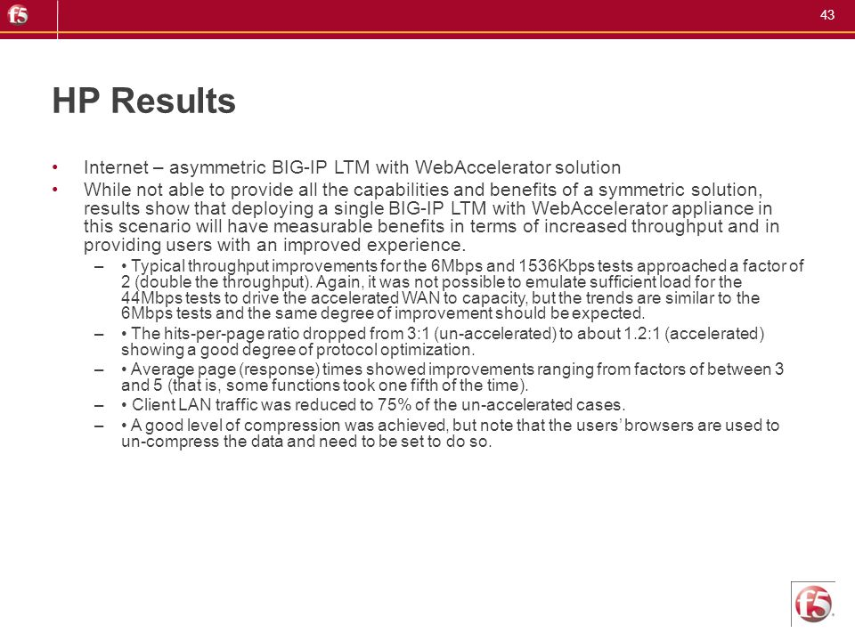 HP Results Internet – asymmetric BIG-IP LTM with WebAccelerator solution.