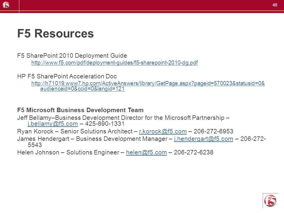 F5 Resources F5 SharePoint 2010 Deployment Guide
