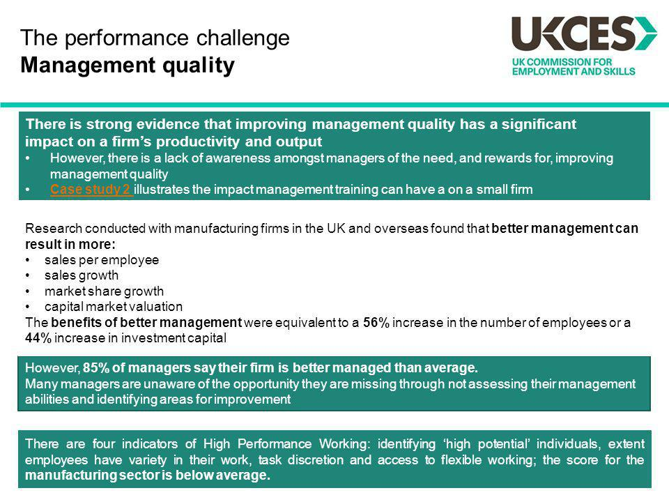 The performance challenge Management quality