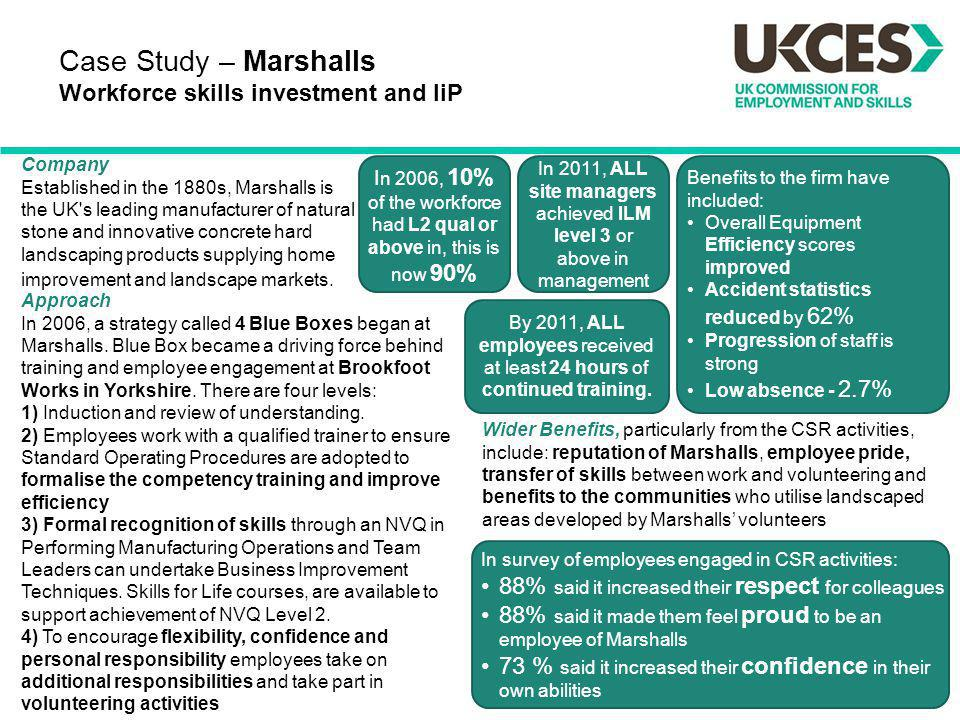 Case Study – Marshalls Workforce skills investment and IiP