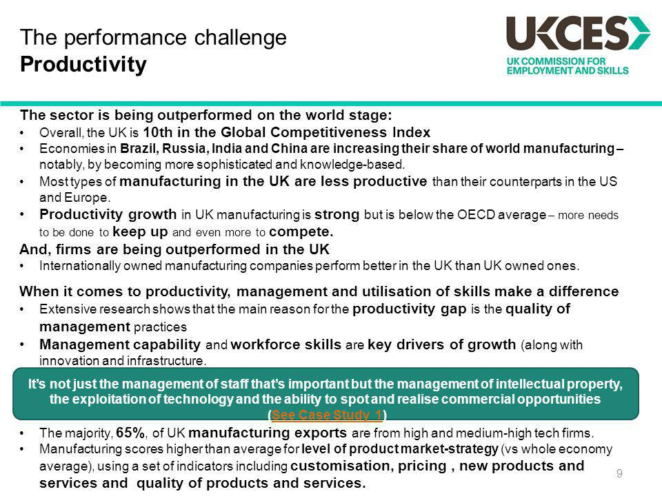 The performance challenge Productivity