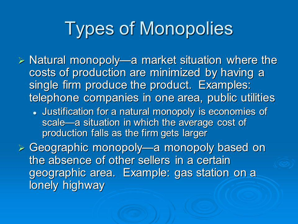 Types of Monopolies