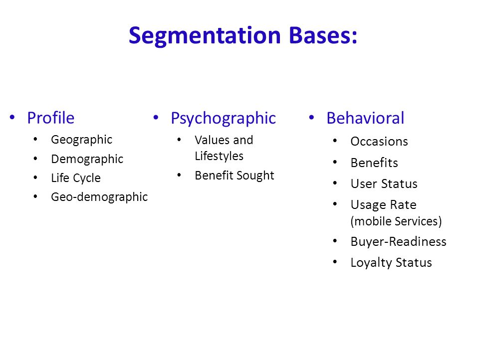 Segmentation Bases: Profile Psychographic Behavioral Occasions