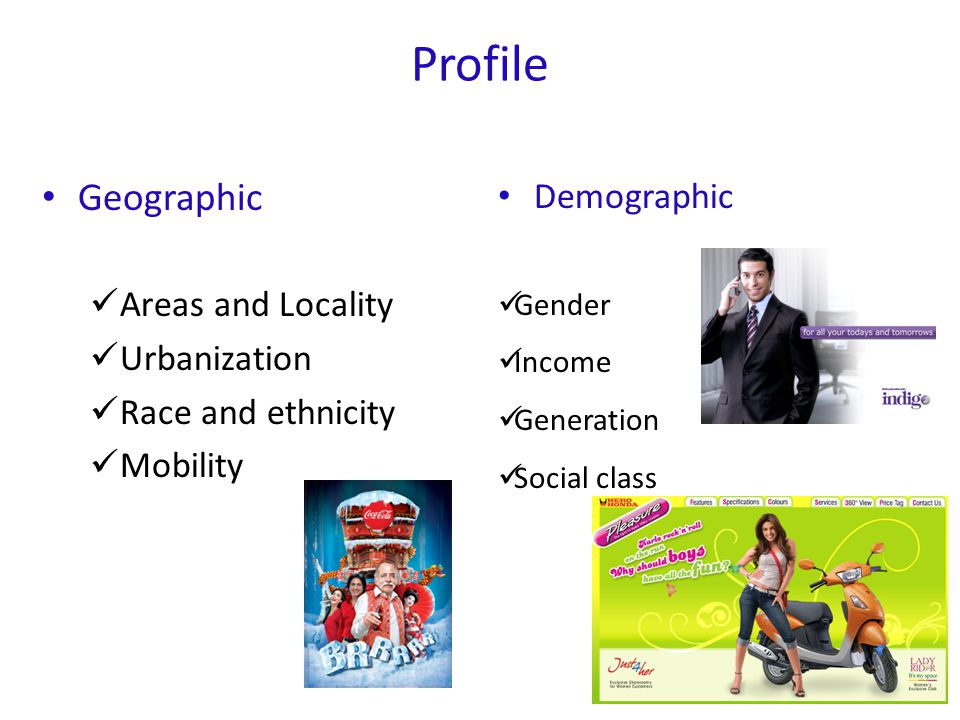 Profile Geographic Demographic Areas and Locality Urbanization