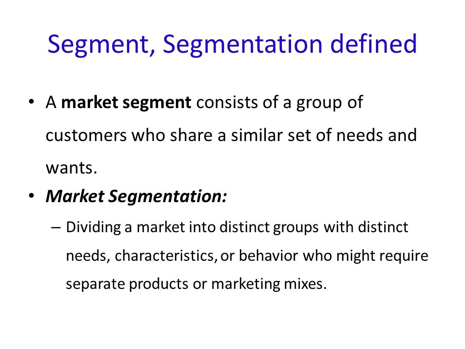 how to explain market segment