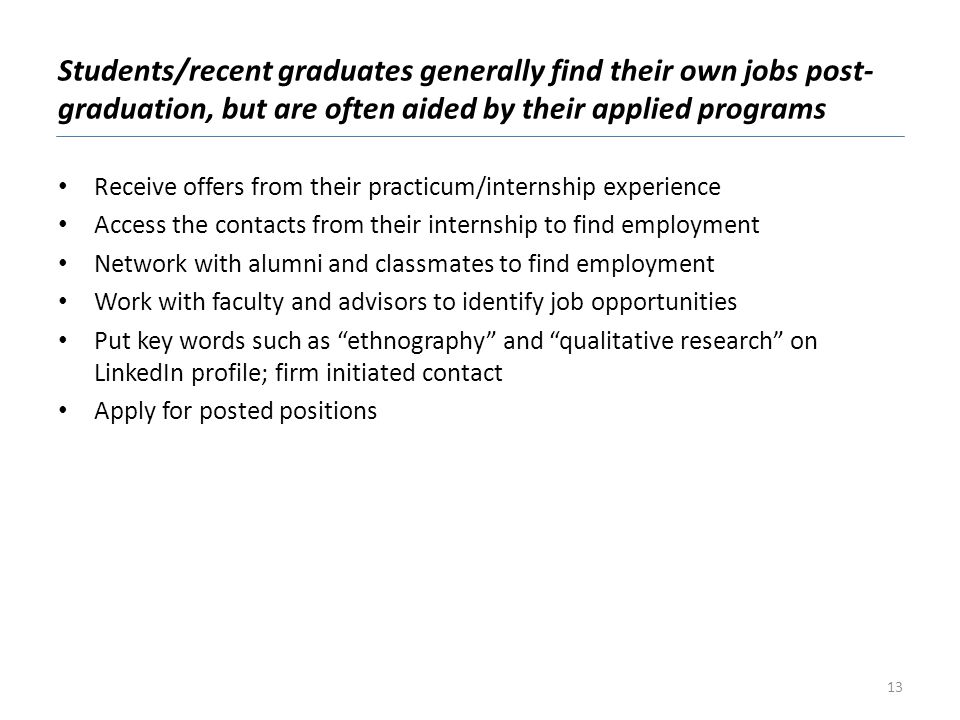Students/recent graduates generally find their own jobs post-graduation, but are often aided by their applied programs