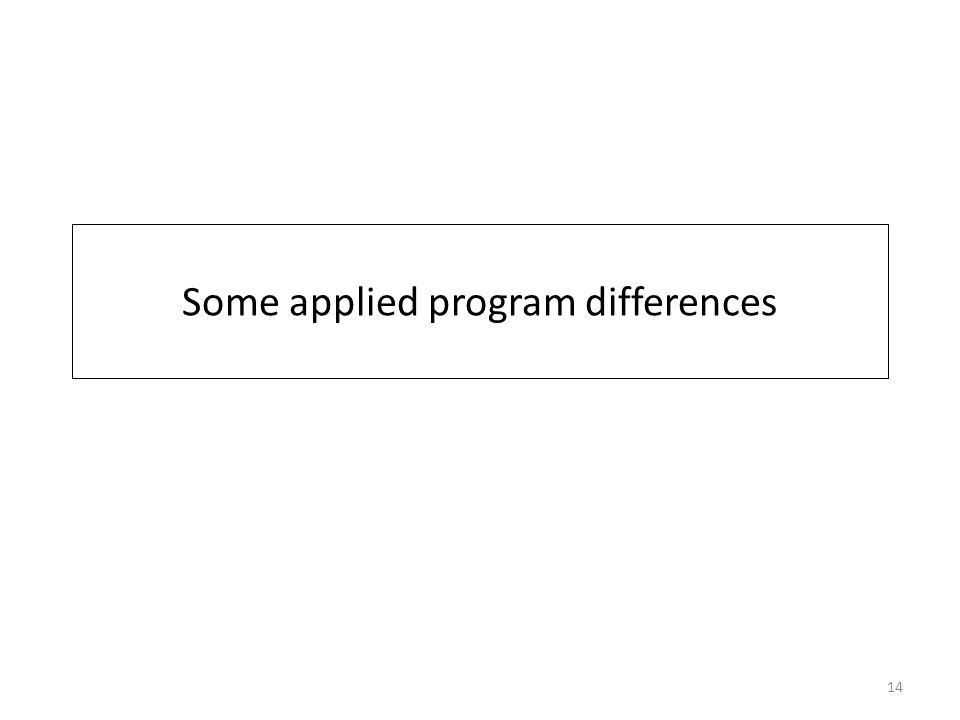 Some applied program differences