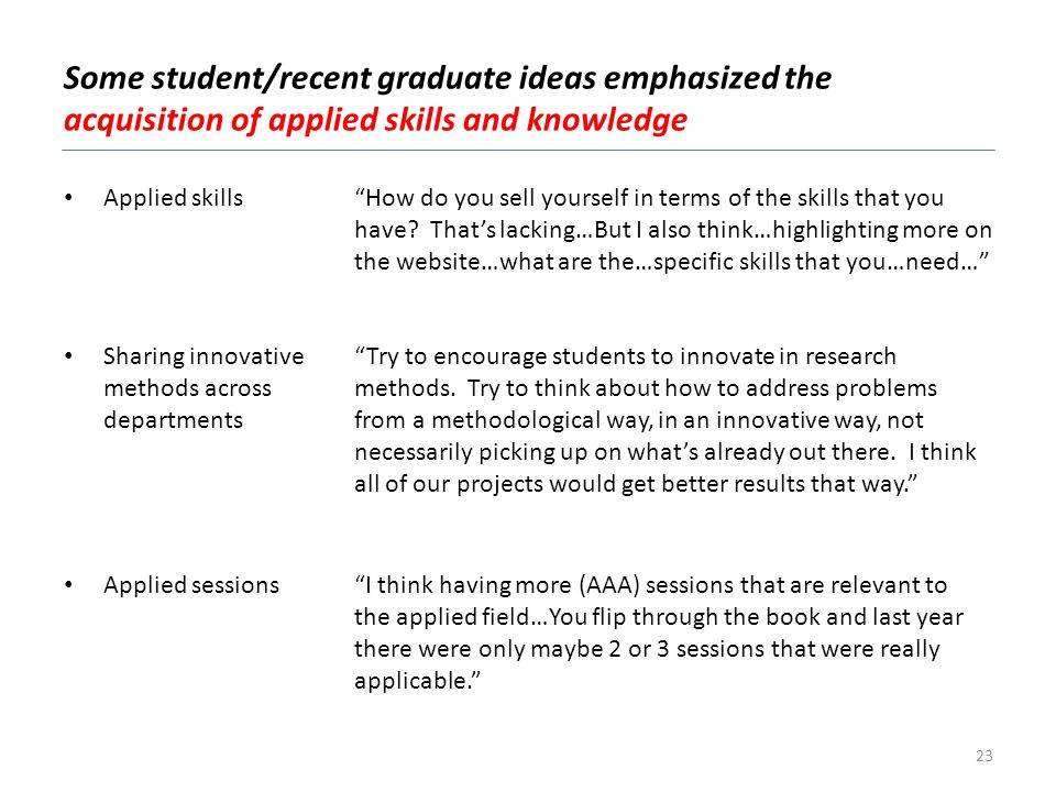 Some student/recent graduate ideas emphasized the acquisition of applied skills and knowledge