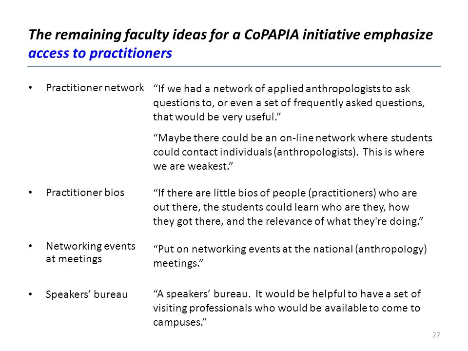 The remaining faculty ideas for a CoPAPIA initiative emphasize access to practitioners