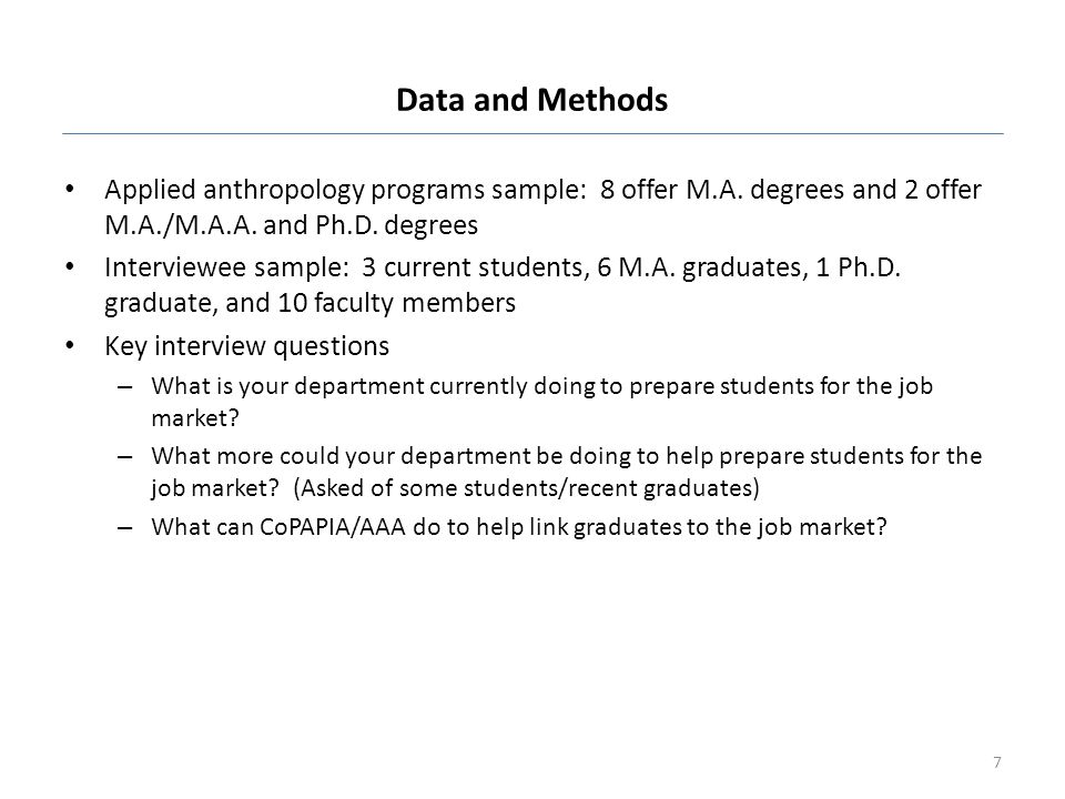 Data and Methods Applied anthropology programs sample: 8 offer M.A. degrees and 2 offer M.A./M.A.A. and Ph.D. degrees.