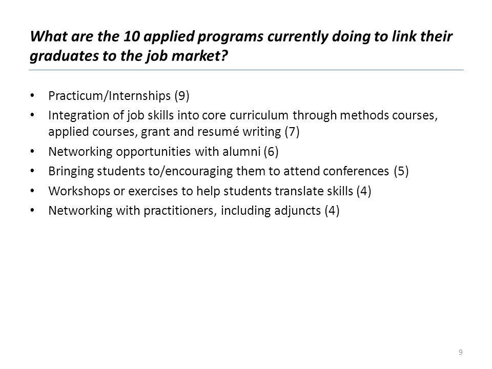What are the 10 applied programs currently doing to link their graduates to the job market