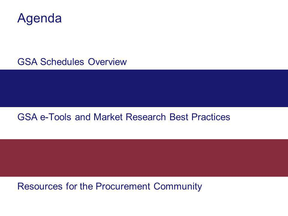 Agenda GSA Schedules Overview GSA e-Tools and Market Research Best Practices Resources for the Procurement Community