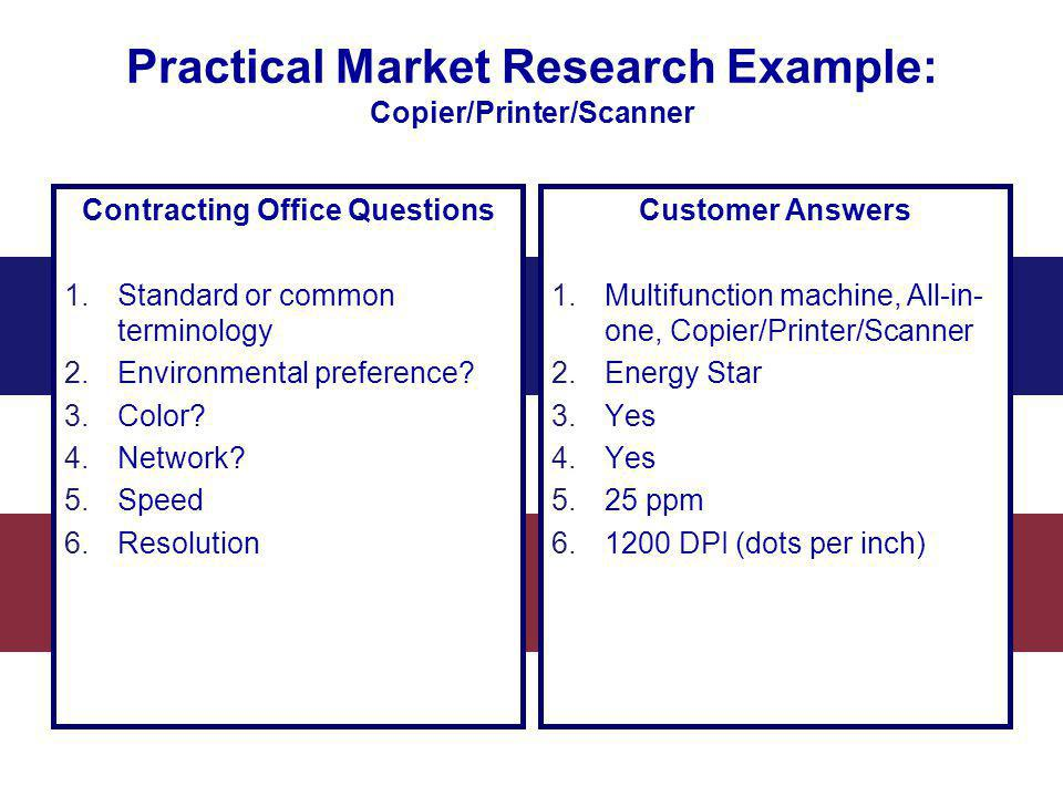 Practical Market Research Example: Copier/Printer/Scanner