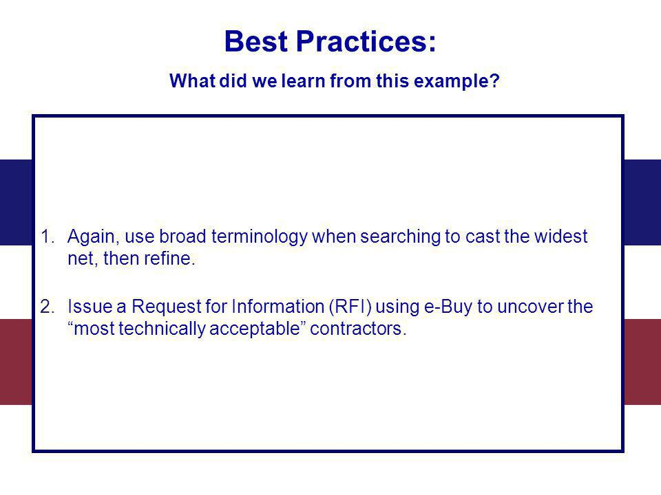 Best Practices: What did we learn from this example