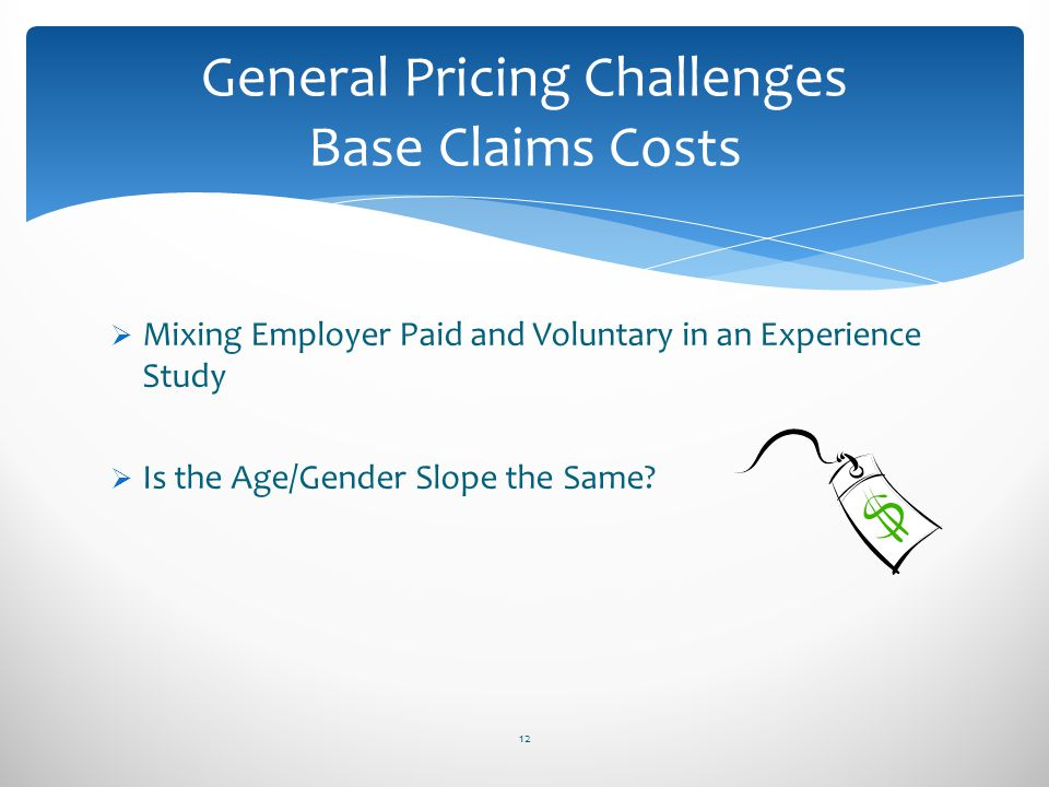 General Pricing Challenges Base Claims Costs