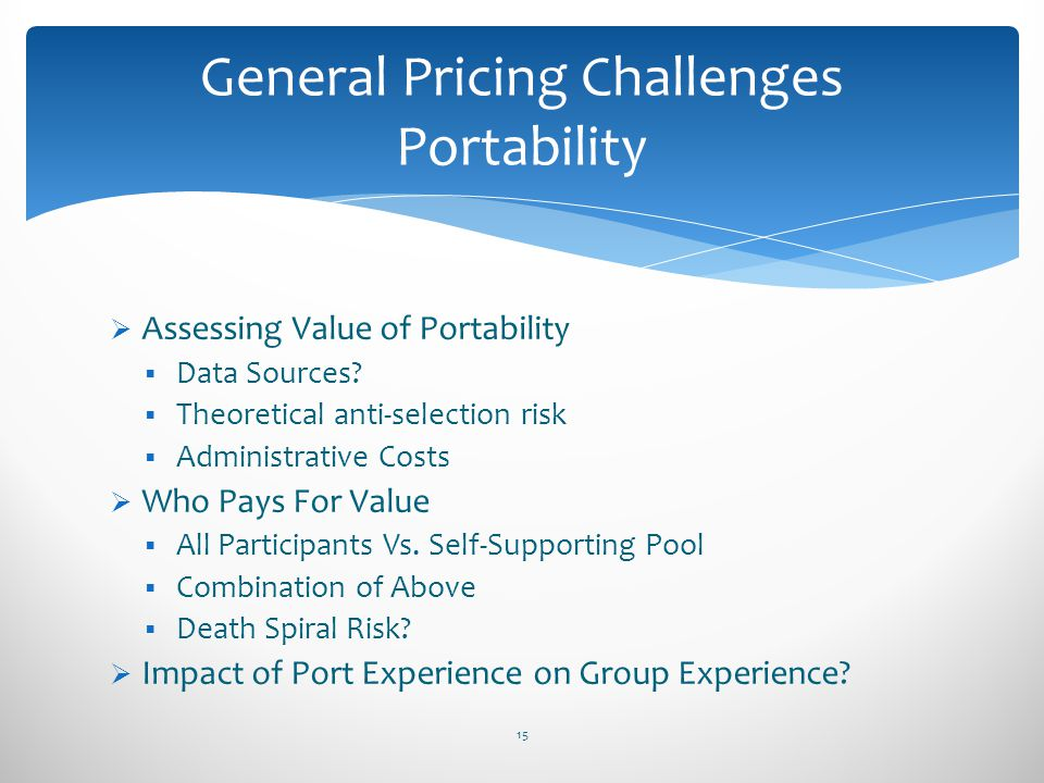 General Pricing Challenges Portability