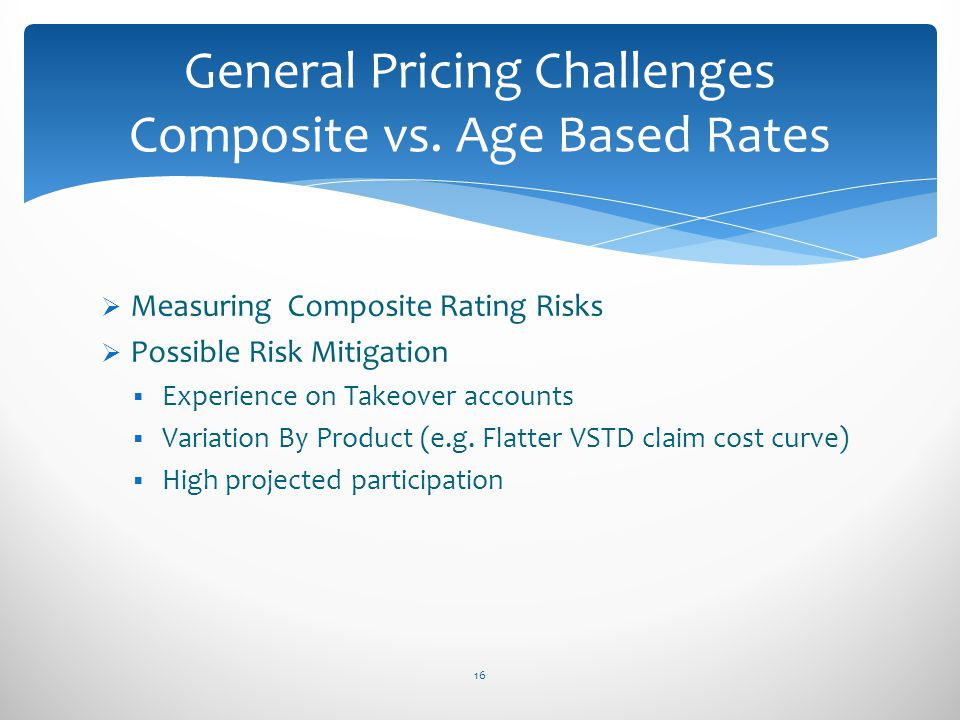 General Pricing Challenges Composite vs. Age Based Rates