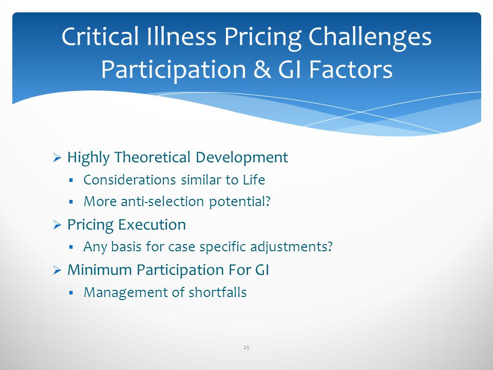 Critical Illness Pricing Challenges Participation & GI Factors