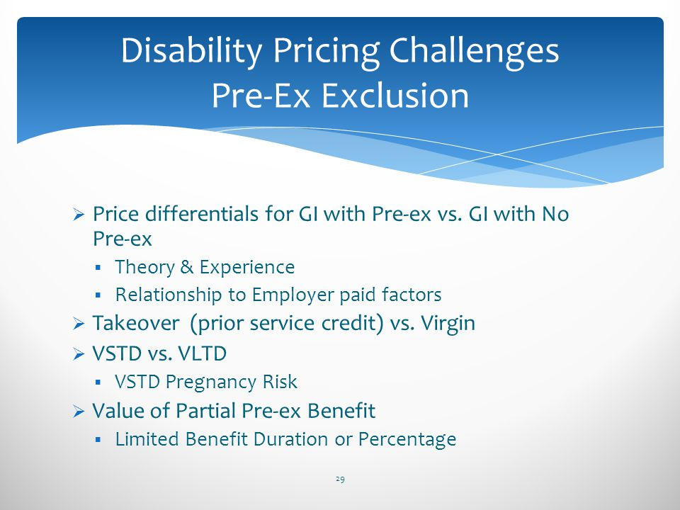 Disability Pricing Challenges Pre-Ex Exclusion