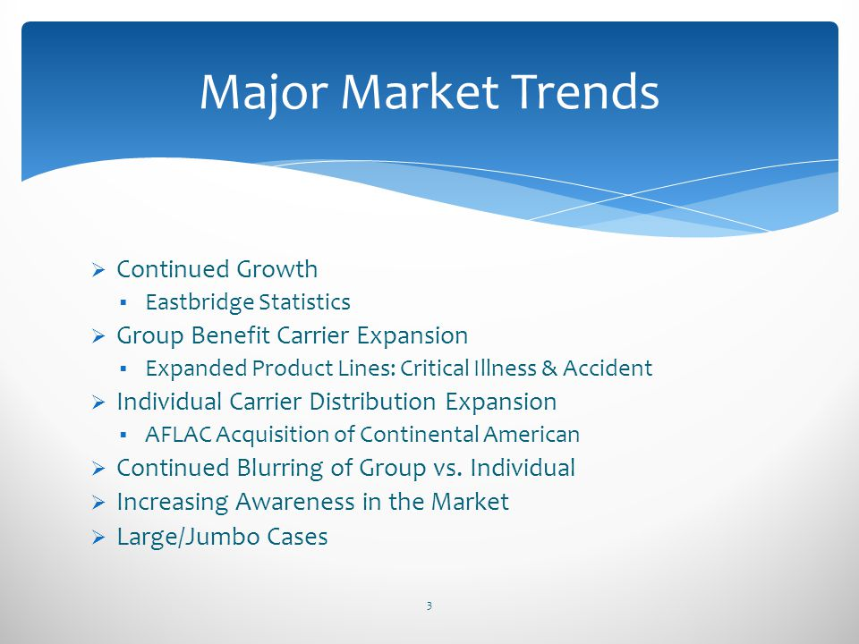 Major Market Trends Continued Growth Group Benefit Carrier Expansion