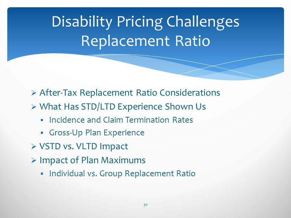 Disability Pricing Challenges Replacement Ratio