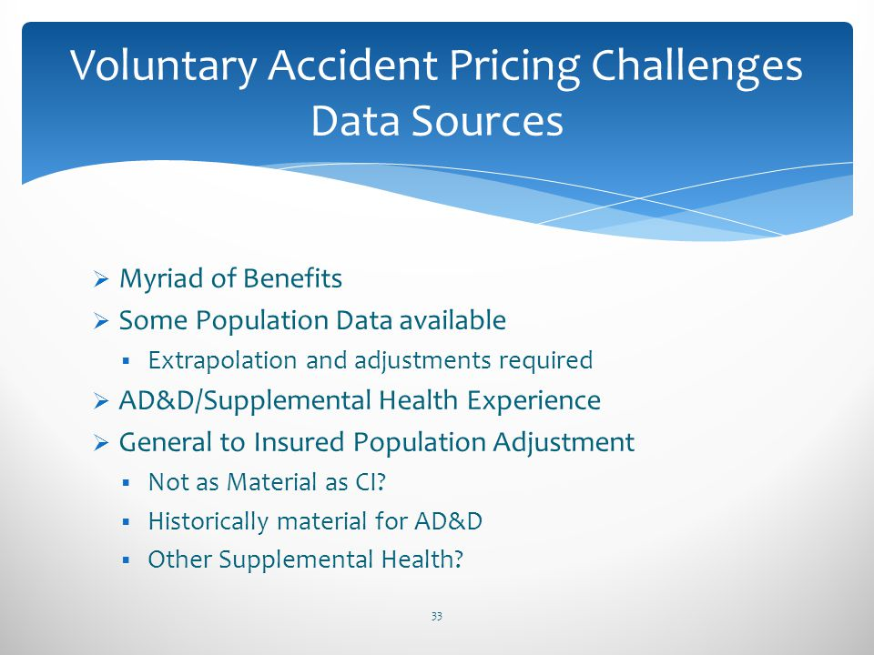 Voluntary Accident Pricing Challenges Data Sources