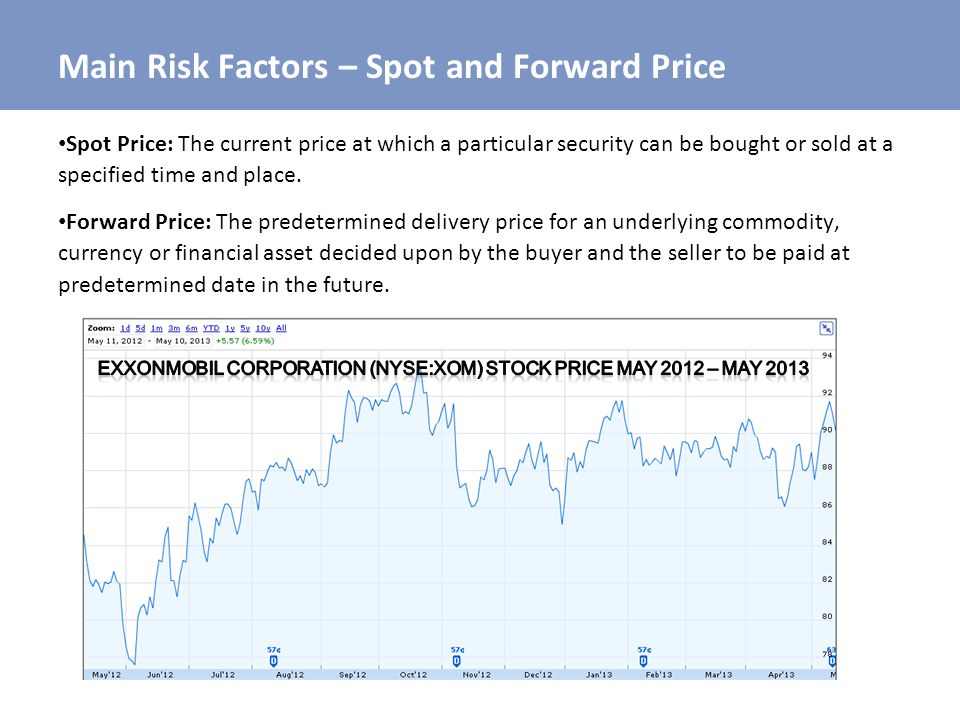 Main Risk Factors – Spot and Forward Price