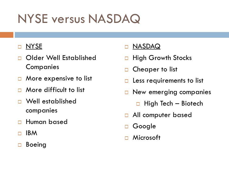 NYSE versus NASDAQ NYSE Older Well Established Companies