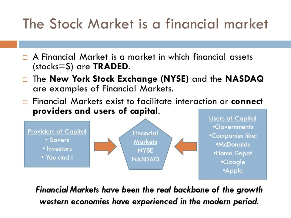 The Stock Market is a financial market