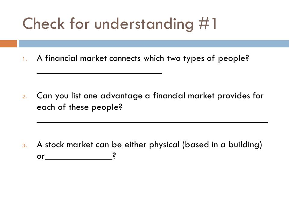 Check for understanding #1