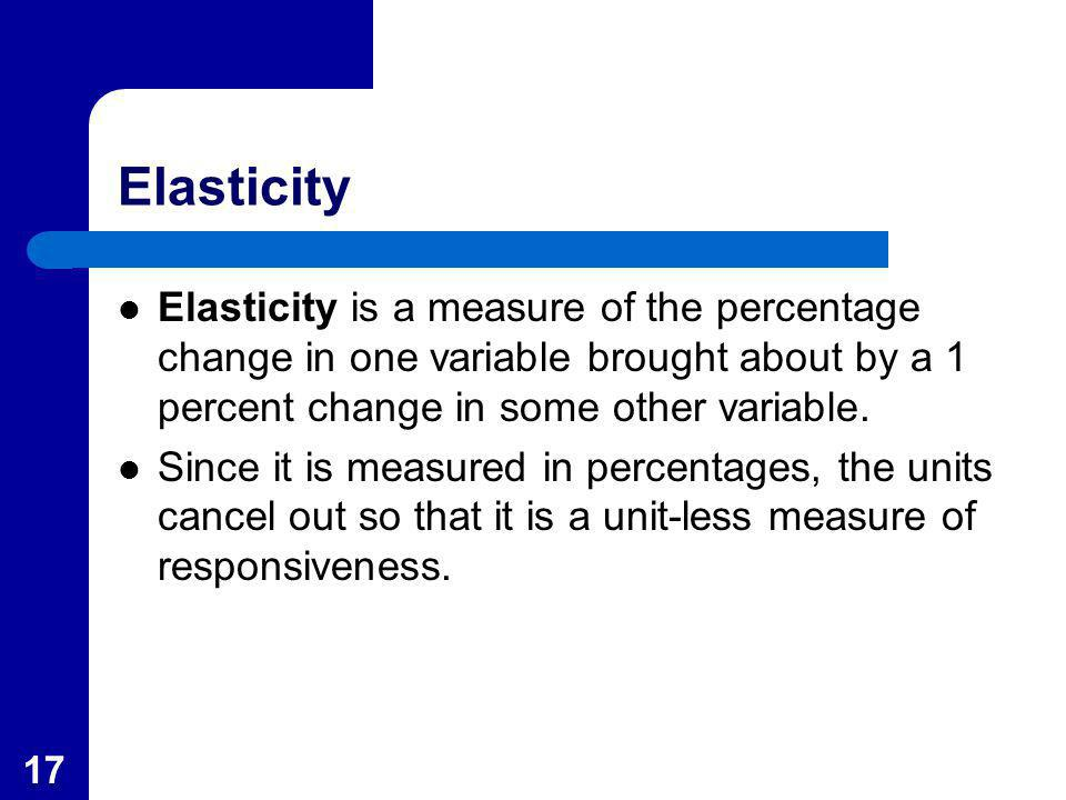 Elasticity Elasticity is a measure of the percentage change in one variable brought about by a 1 percent change in some other variable.