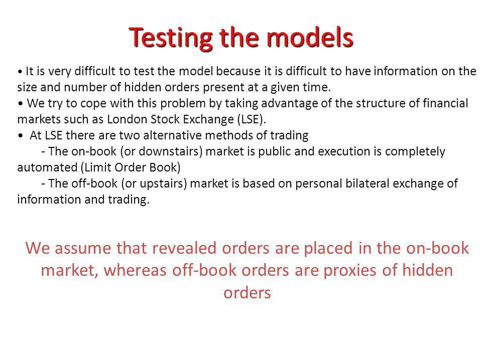 Testing the models