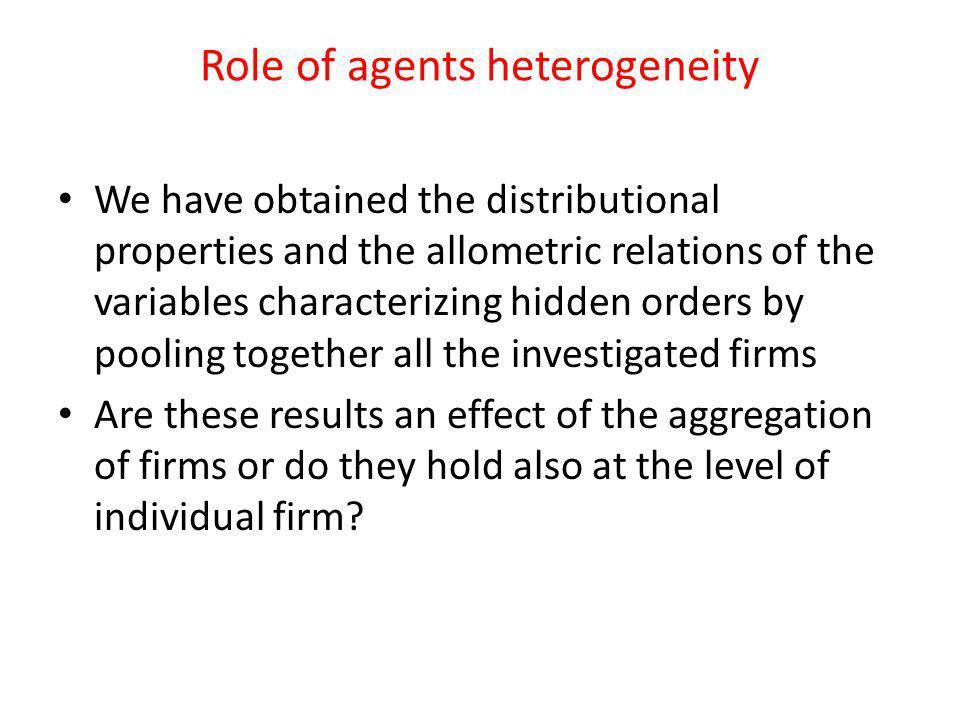 Role of agents heterogeneity