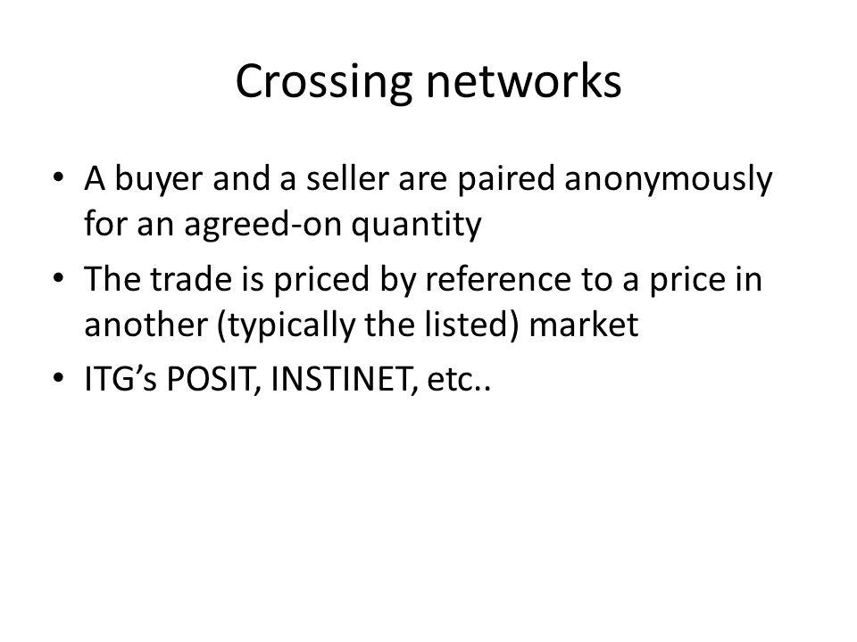 Crossing networks A buyer and a seller are paired anonymously for an agreed-on quantity.