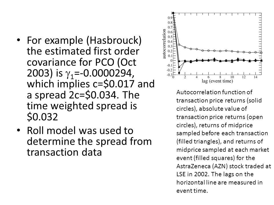 Roll model was used to determine the spread from transaction data