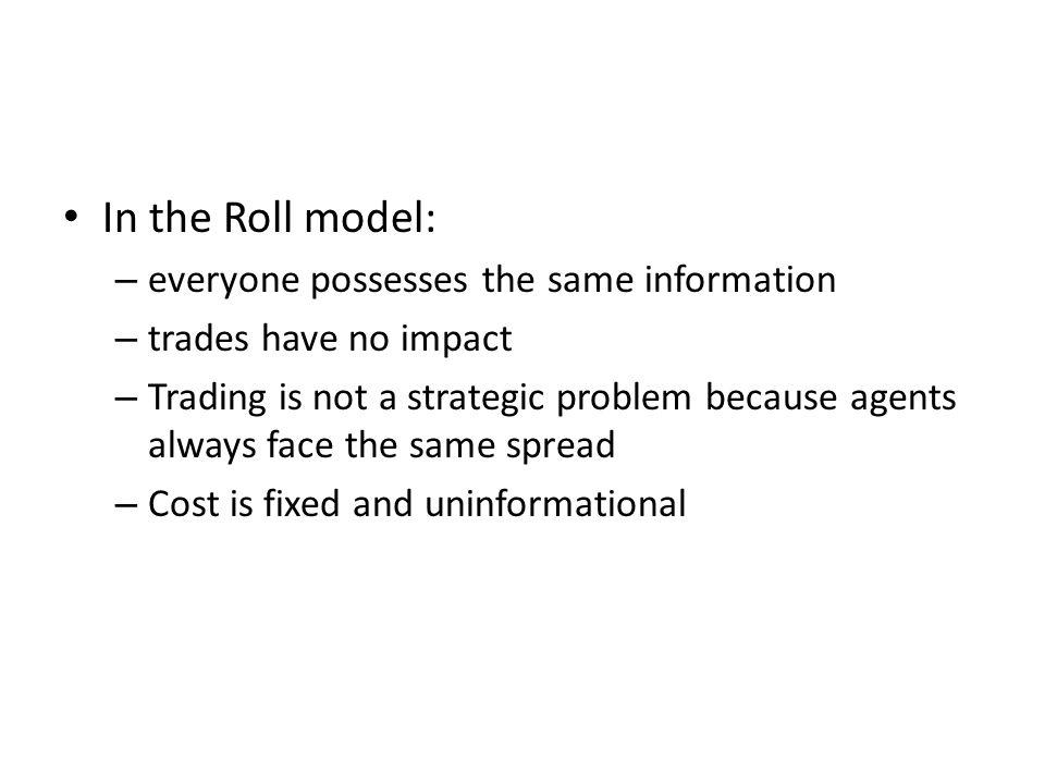 In the Roll model: everyone possesses the same information