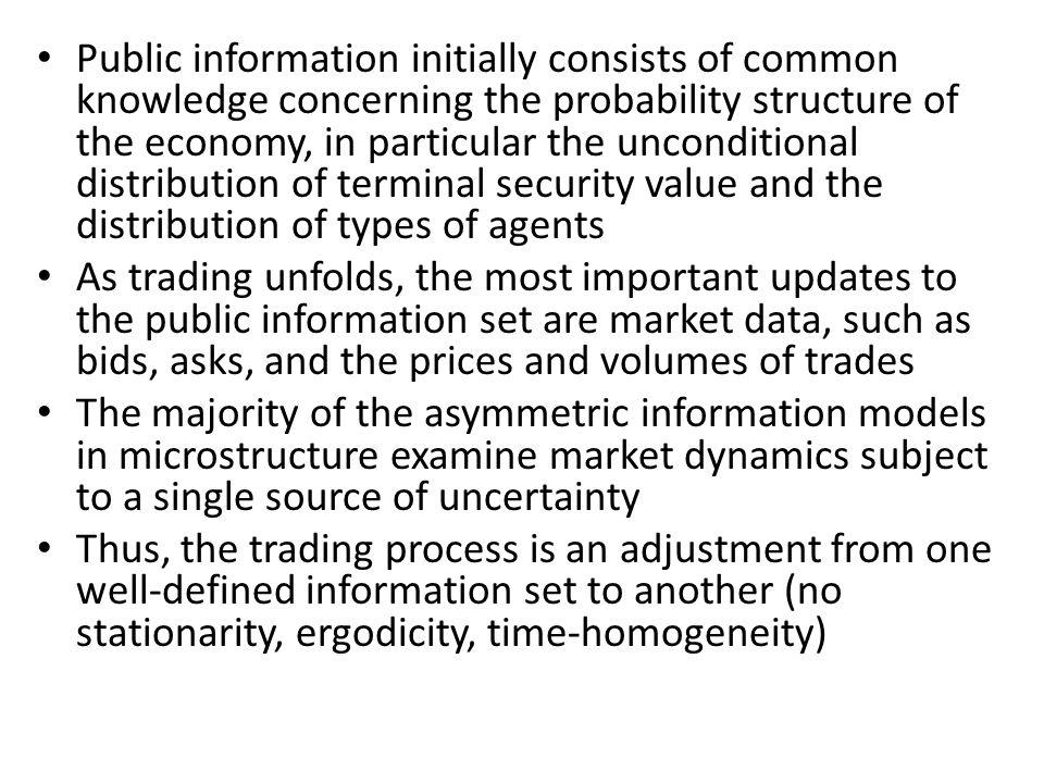 Public information initially consists of common knowledge concerning the probability structure of the economy, in particular the unconditional distribution of terminal security value and the distribution of types of agents