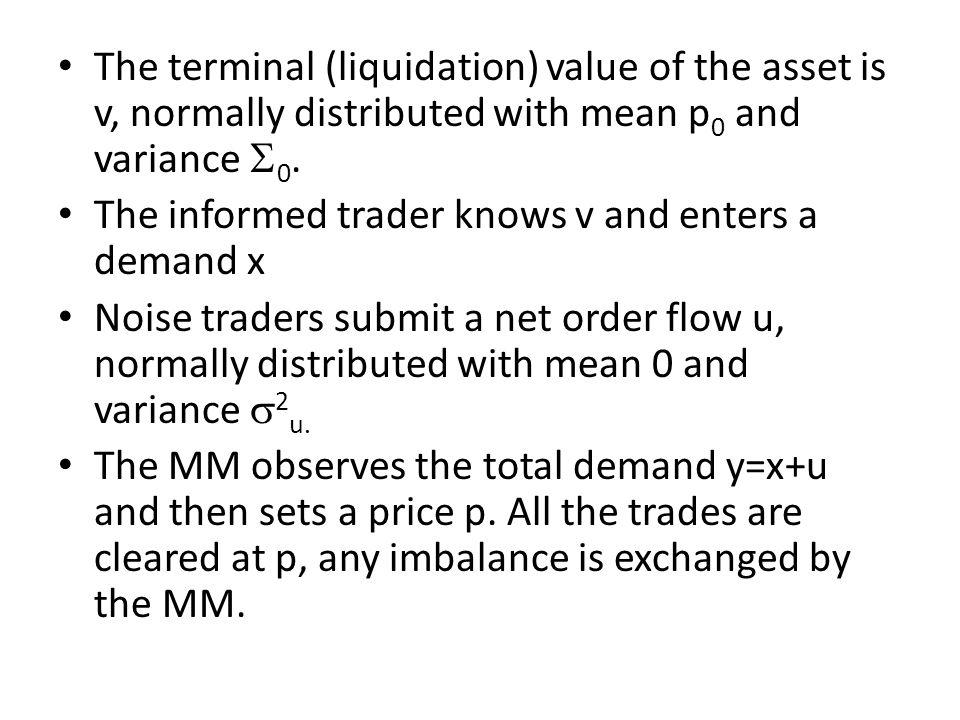 The terminal (liquidation) value of the asset is v, normally distributed with mean p0 and variance S0.