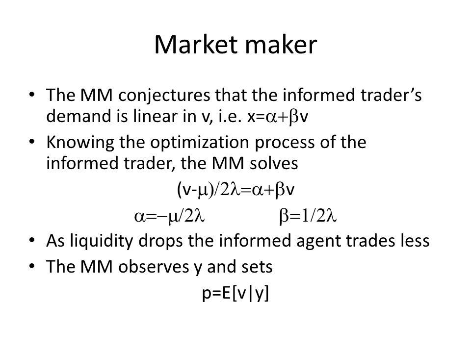 Market maker The MM conjectures that the informed trader's demand is linear in v, i.e. x=a+bv.