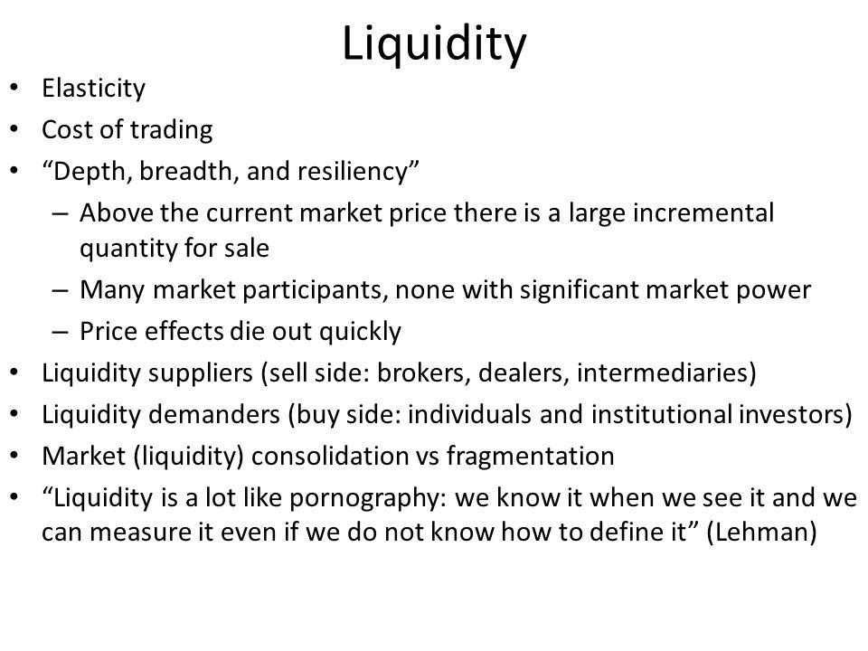 Liquidity Elasticity Cost of trading Depth, breadth, and resiliency