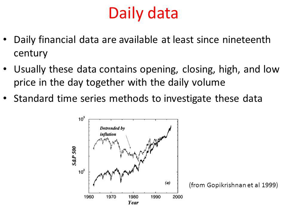 Daily data Daily financial data are available at least since nineteenth century.