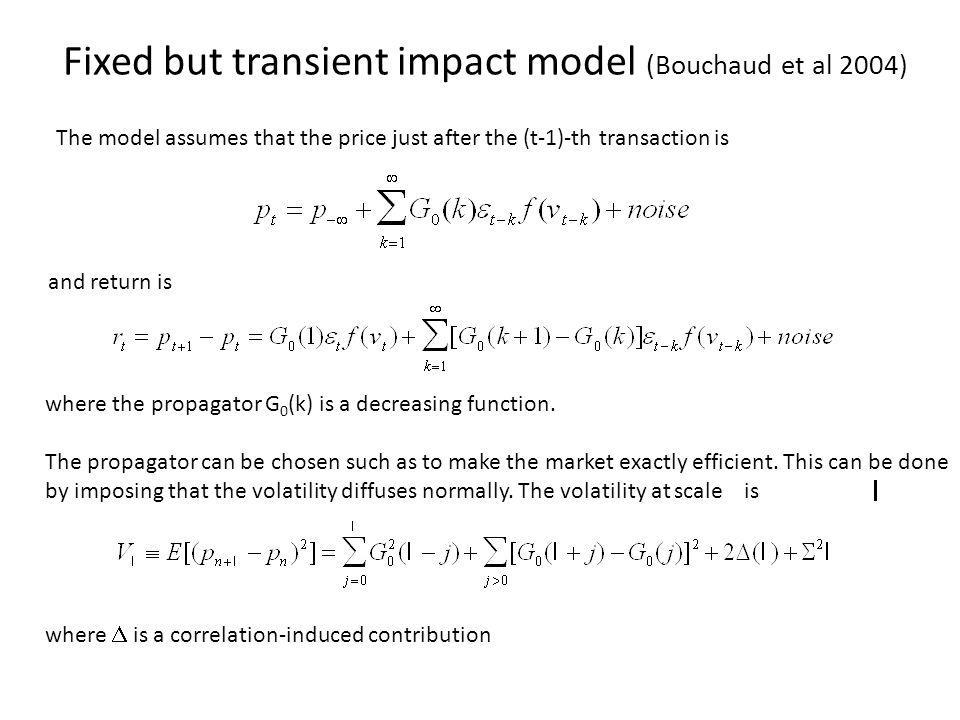Fixed but transient impact model (Bouchaud et al 2004)