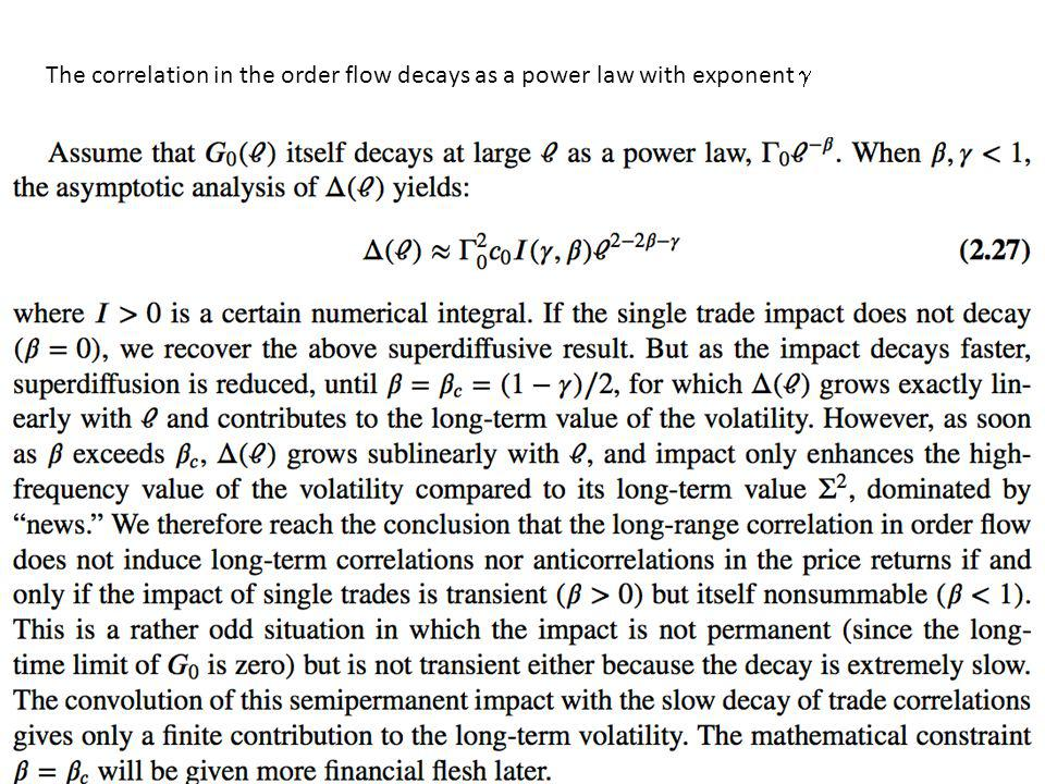 The correlation in the order flow decays as a power law with exponent g