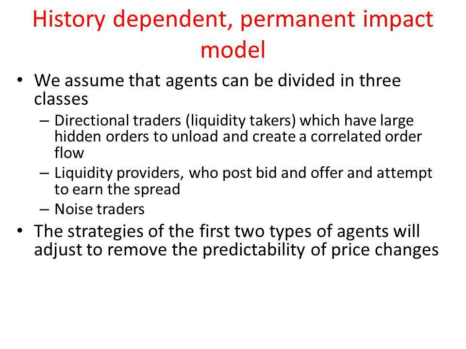 History dependent, permanent impact model