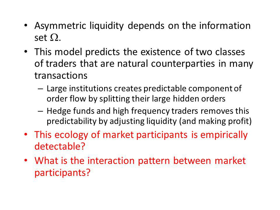 Asymmetric liquidity depends on the information set W.