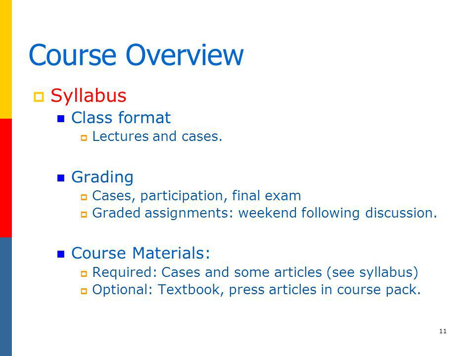 Course Overview Syllabus Class format Grading Course Materials: